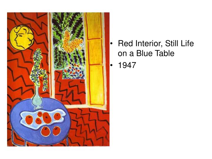 Red Interior, Still Life on a Blue Table