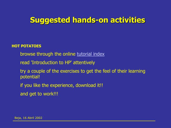 Suggested hands-on activities