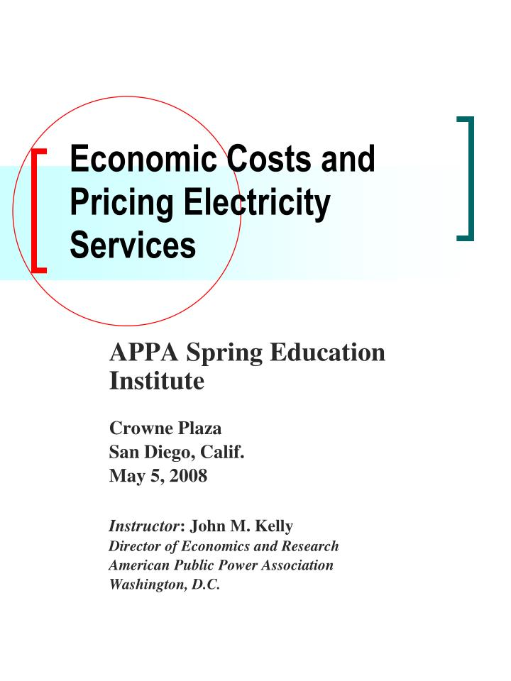 economic costs and pricing electricity services n.