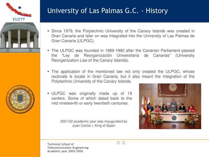 University of Las Palmas G.C. - History