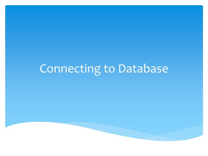 connecting to database n.