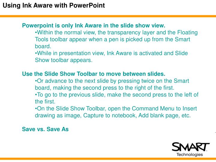Using Ink Aware with PowerPoint