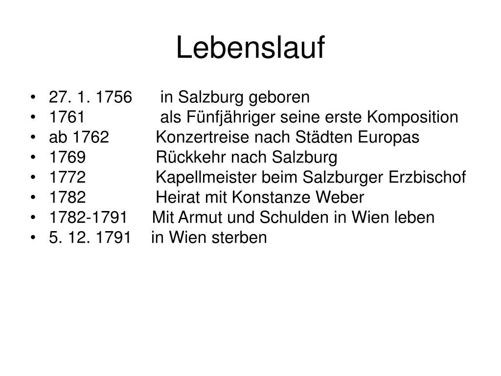 Klassika Wolfgang Amadeus Mozart 1756 1791 Lebenslauf 3