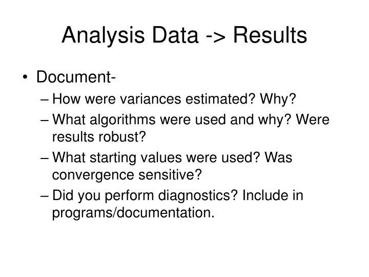 Analysis Data -> Results