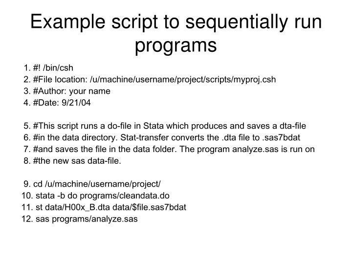 Example script to sequentially run programs
