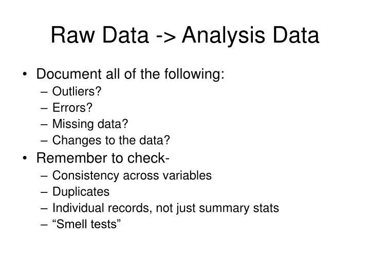 Raw Data -> Analysis Data