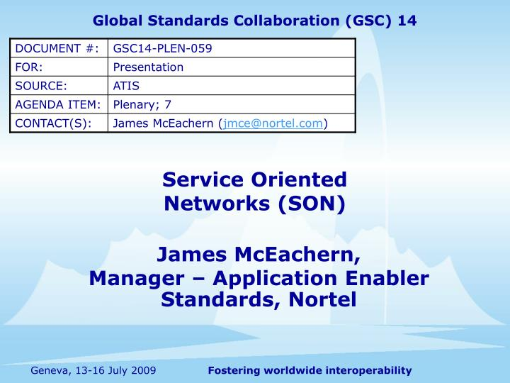 Service oriented networks son