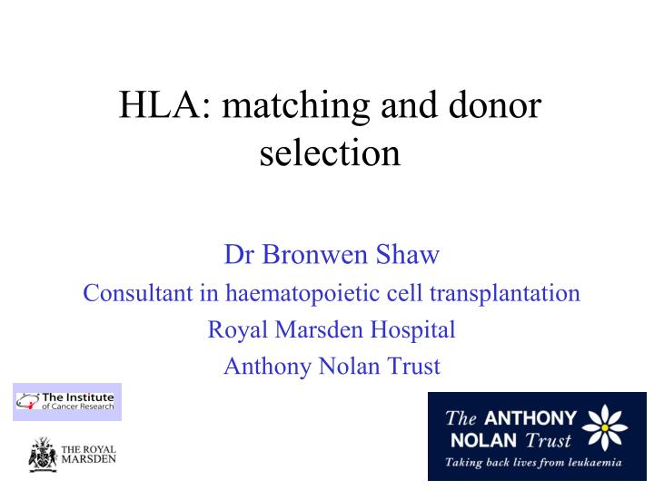 hla matching and donor selection n.