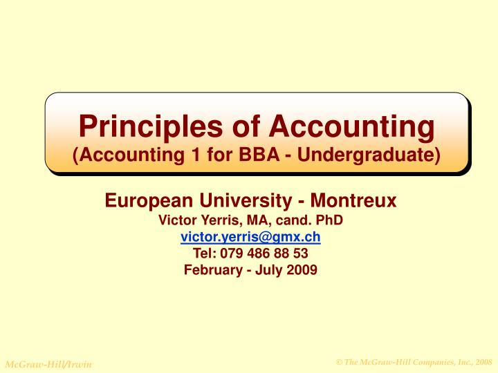 principles of accounting accounting 1 for bba undergraduate n.
