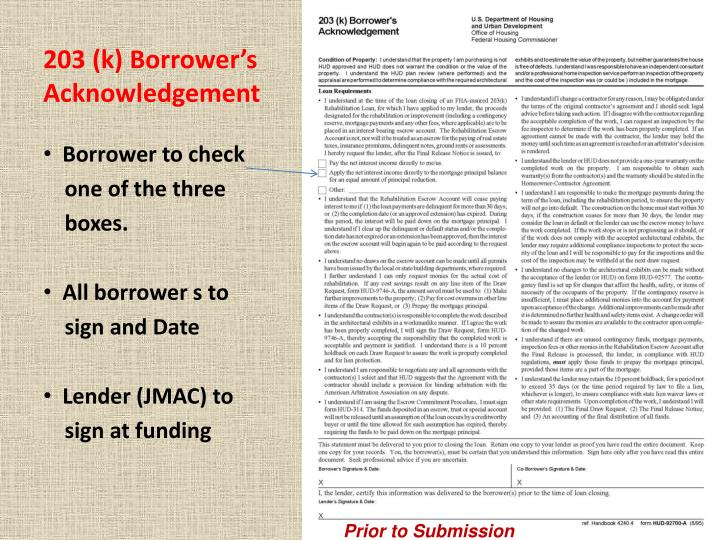 203 (k) Borrower's