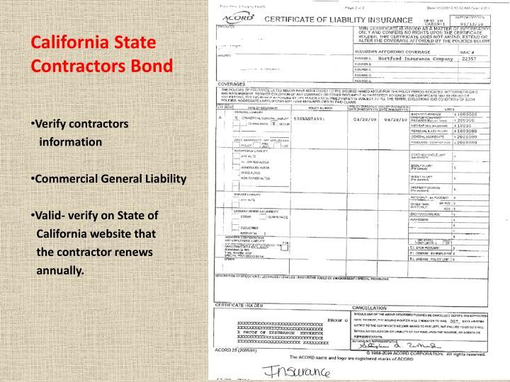 California State Contractors Bond