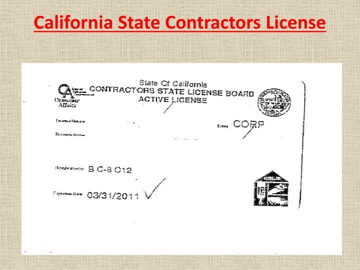 California State Contractors License