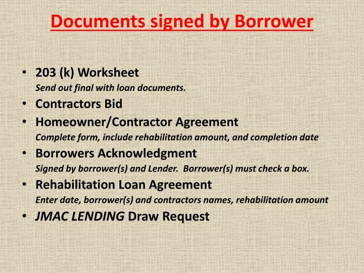 Documents signed by Borrower