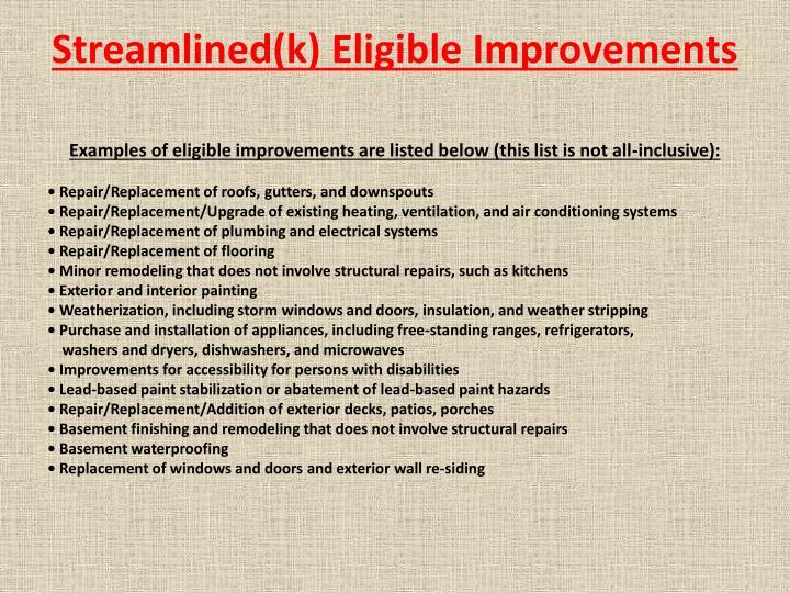 Streamlined(k) Eligible Improvements