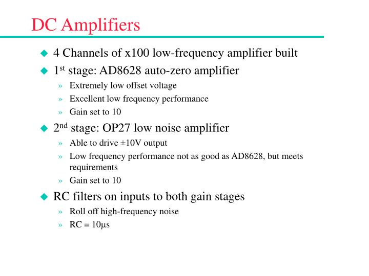 Dc amplifiers