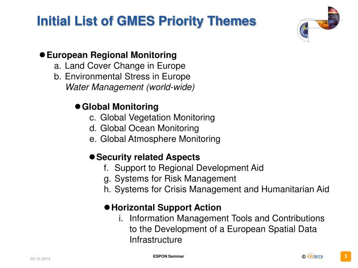 Initial list of gmes priority themes