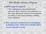 epa health advisory program