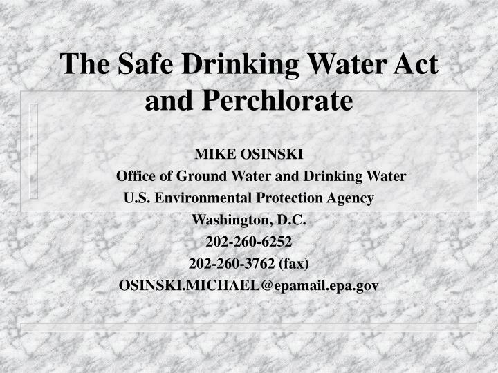the safe drinking water act and perchlorate n.