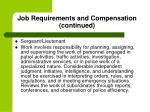 job requirements and compensation continued