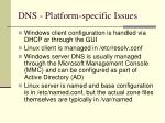 dns platform specific issues