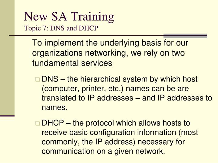 new sa training topic 7 dns and dhcp