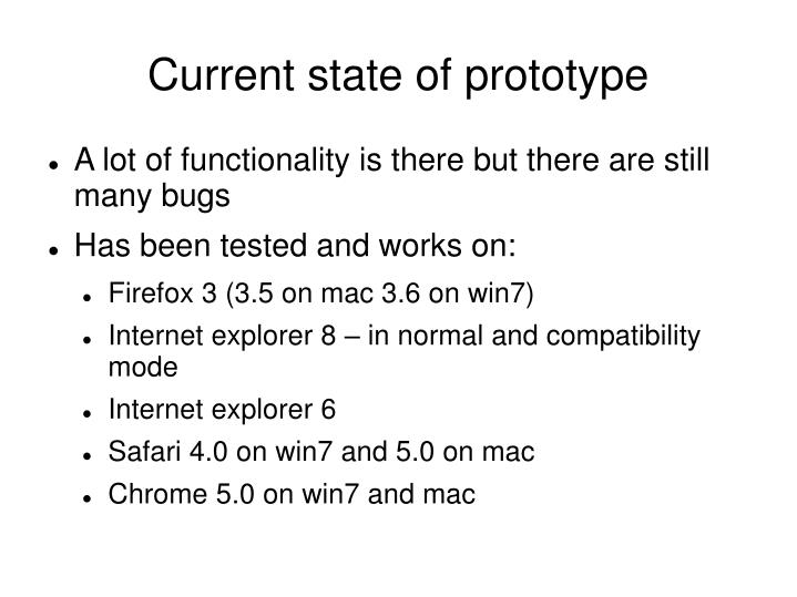 Current state of prototype