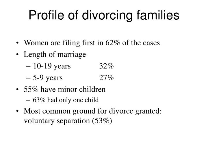 Profile of divorcing families