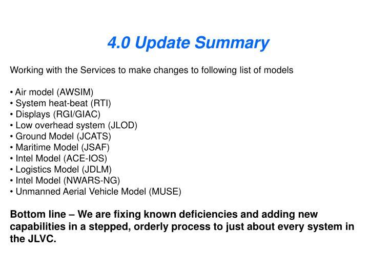 4.0 Update Summary