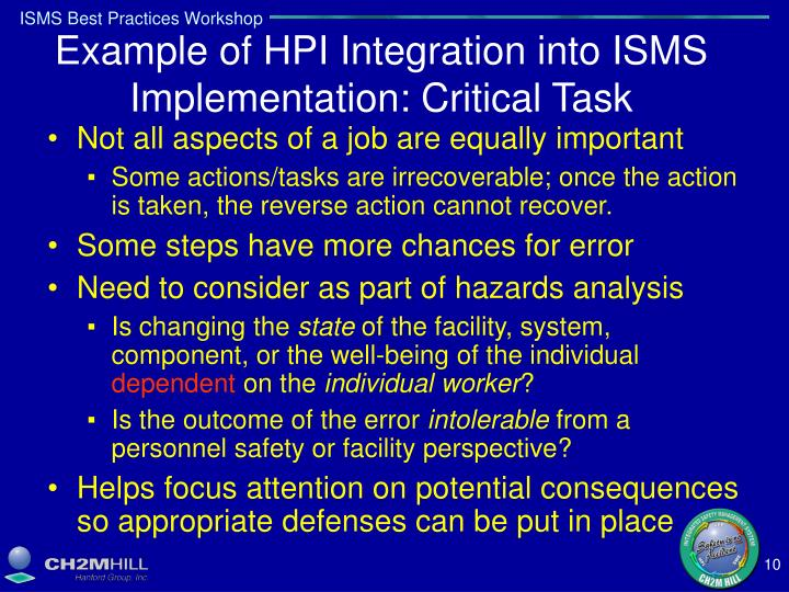 Example of HPI Integration into ISMS Implementation: Critical Task