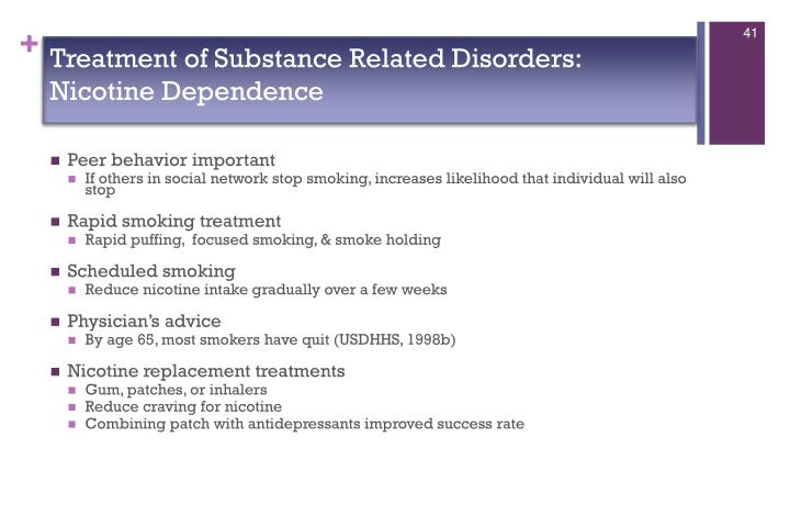 Treatment of Substance Related Disorders:  Nicotine Dependence