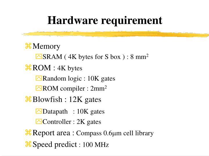 Hardware requirement