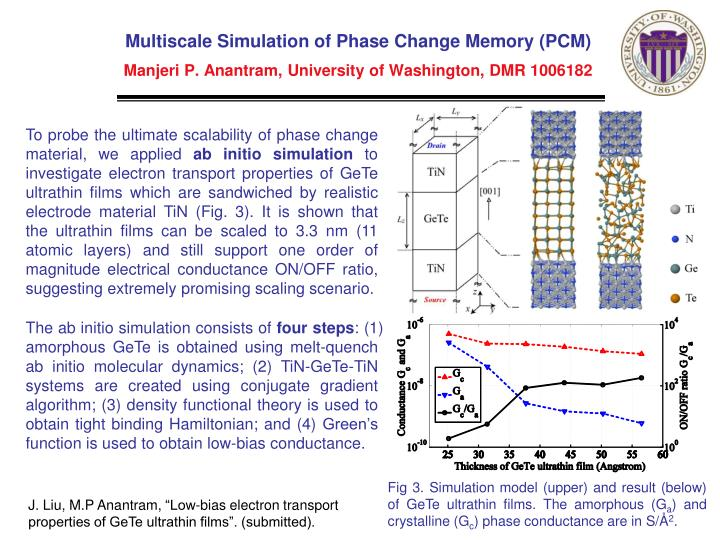 Multiscale Simulation of Phase Change Memory (PCM)