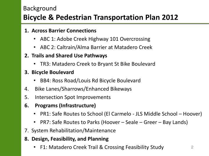 Background bicycle pedestrian transportation plan 2012