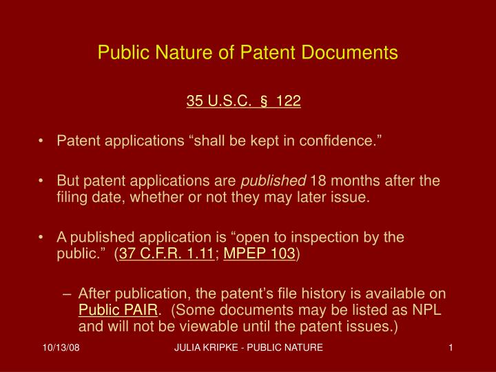 public nature of patent documents n.