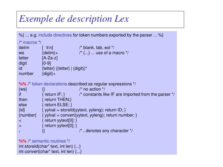 Exemple de description Lex