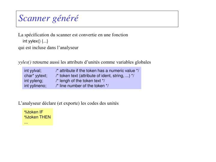 Scanner généré