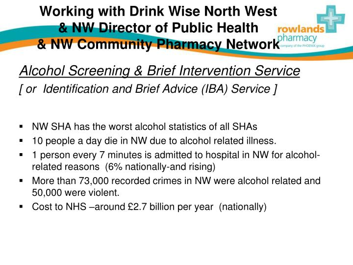 Working with drink wise north west nw director of public health nw community pharmacy network