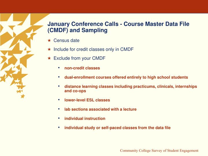 January Conference Calls - Course Master Data File (CMDF) and Sampling