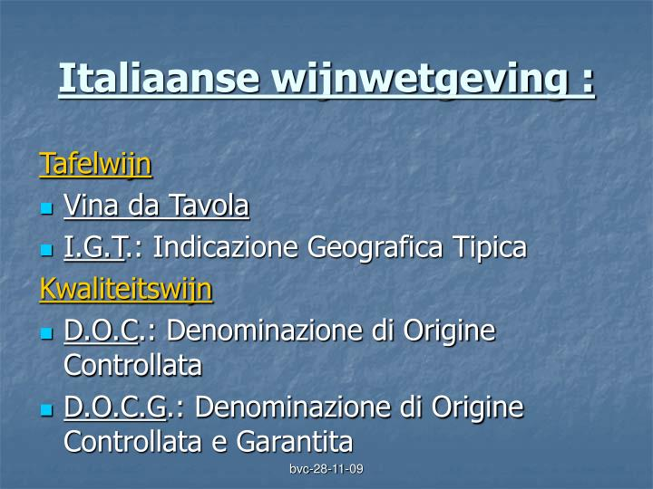 Italiaanse wijnwetgeving