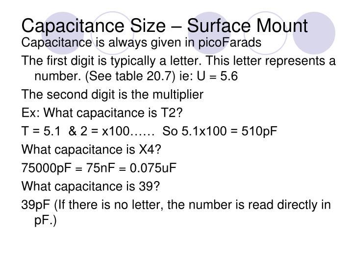 Capacitance Size – Surface Mount