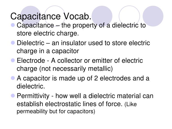 Capacitance vocab