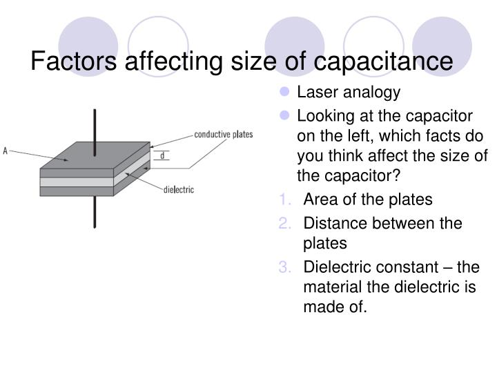 Factors affecting size of capacitance