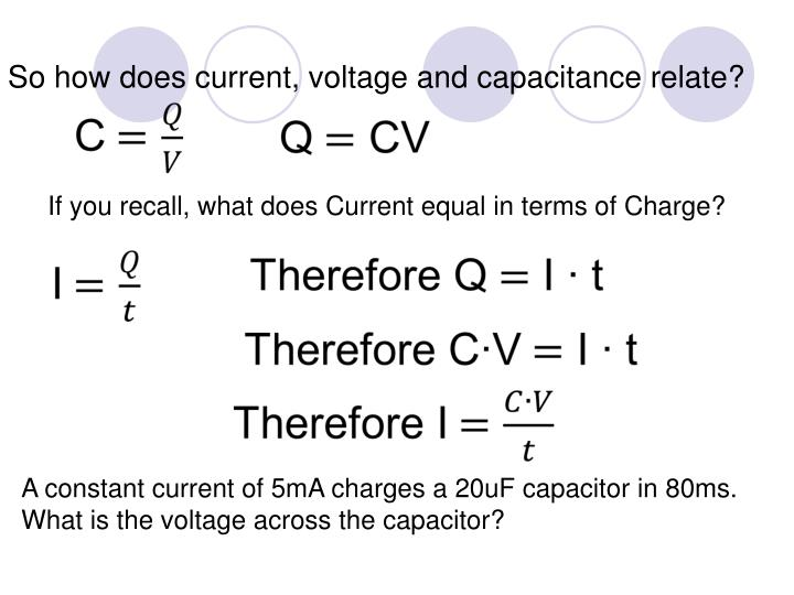 So how does current, voltage and capacitance relate?