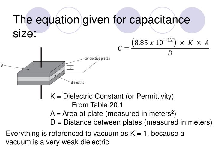 The equation given for capacitance size: