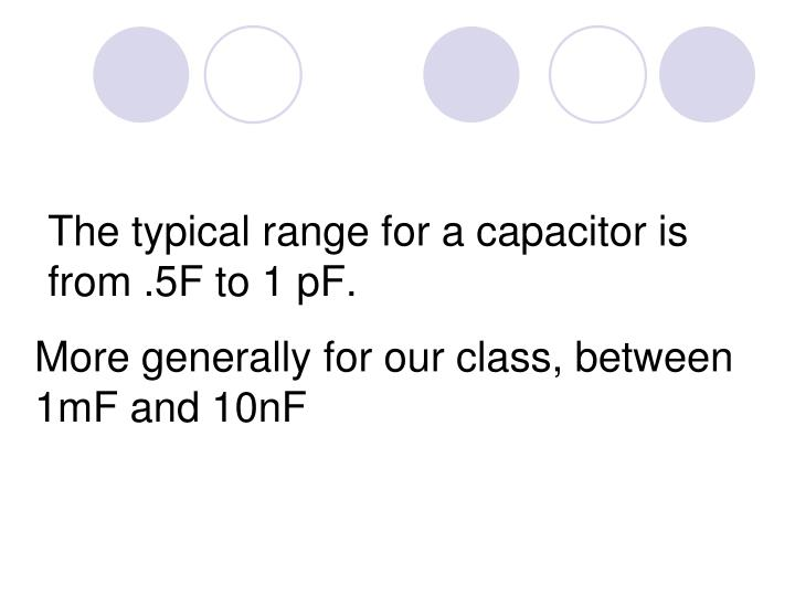 The typical range for a capacitor is from .5F to 1 pF.