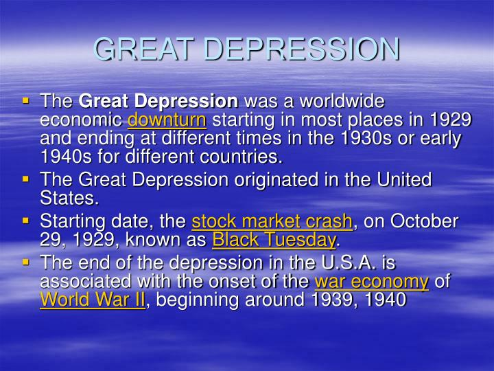 PPT - THE GREAT DEPRESSION, PowerPoint Presentation - ID ...