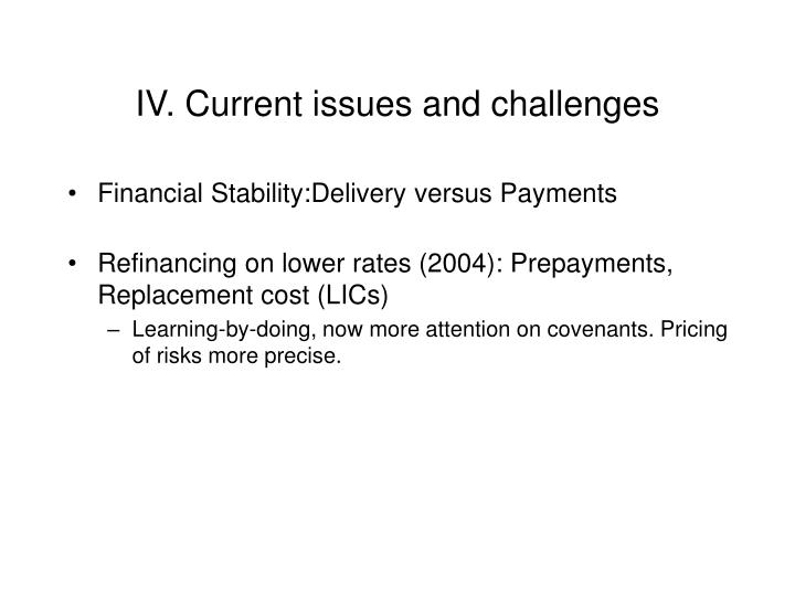 IV. Current issues and challenges