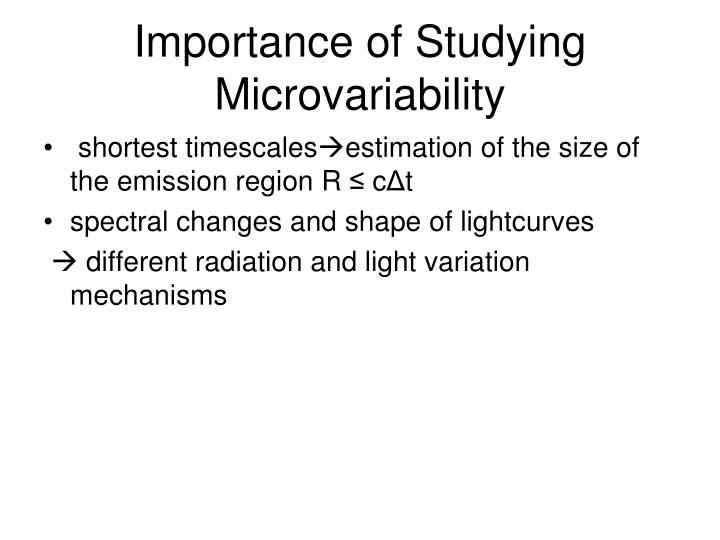 Importance of Studying Microvariability