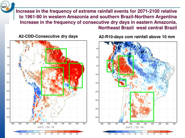 Increase in the frequency of extreme rainfall events for 2071-2100 relative to 1961-90 in western Amazonia and southern Brazil-Northern Argentina