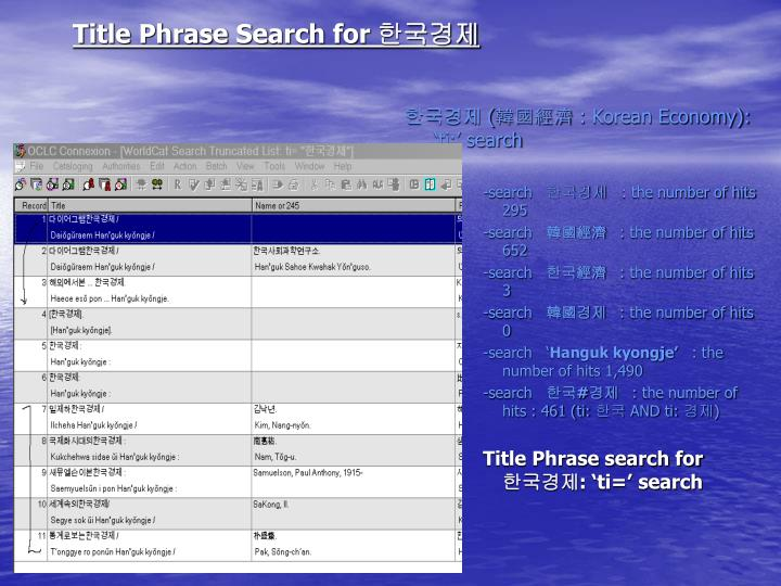 Title Phrase Search for